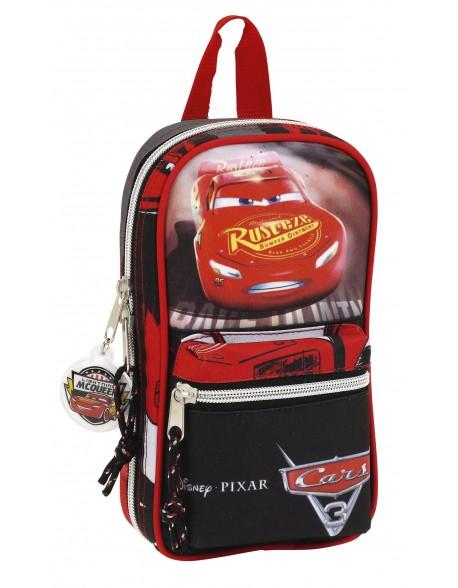 Cars Plumier mochila 4 estuches llenos, 33 piezas, escolar