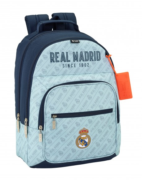 Real Madrid CF Mochila doble con refuerzo inferior, adaptable a carro