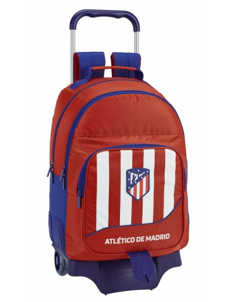 Atlético de Madrid Mochila doble con ruedas, carro, trolley