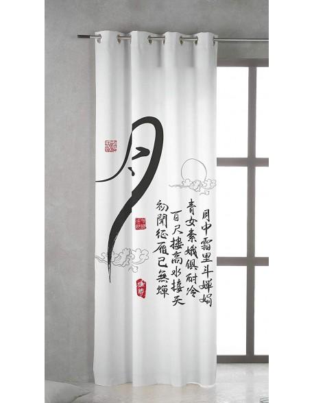Tsuki Cortina japonesa con ojales Kanji 100% algodón