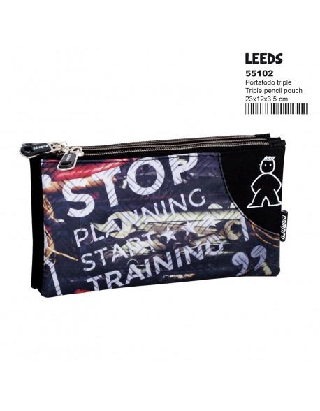 Campro Leeds Estuche portatodo triple 3 cremalleras escolar