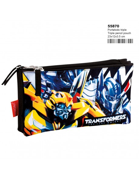 Transformers Accepted Estuche portatodo triple 3 cremalleras escolar