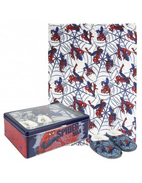Spiderman Set caja metálica: pantuflas y manta