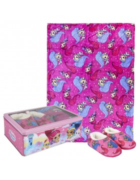 Shimmer and Shine Set caja metálica: pantuflas y manta