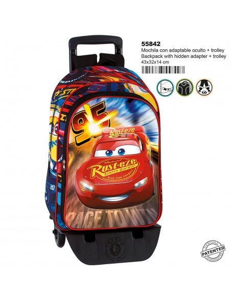 Cars Mochila con carro plegable, ruedas, Trolley