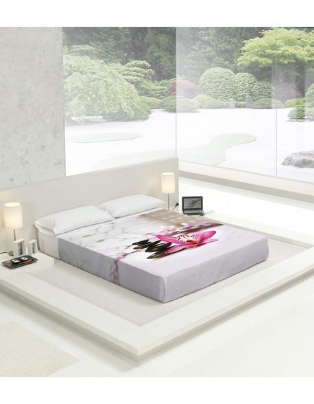 Tsuki Sábana encimera + funda almohada, japonesa, Baransu 100% algodón