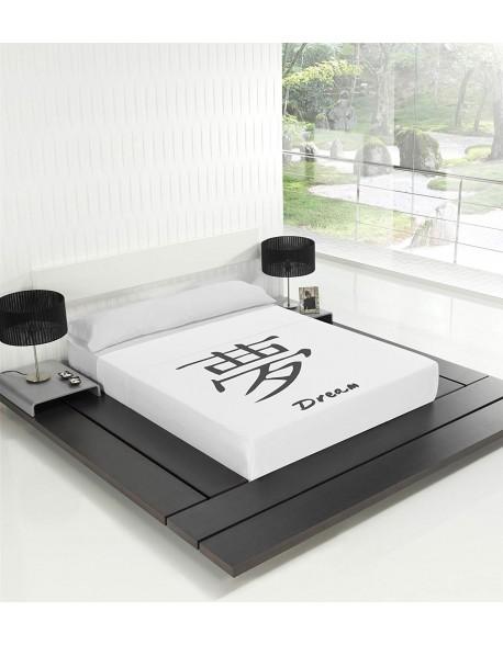 Tsuki Sábana encimera + funda almohada, japonesa, Dream 100% algodón