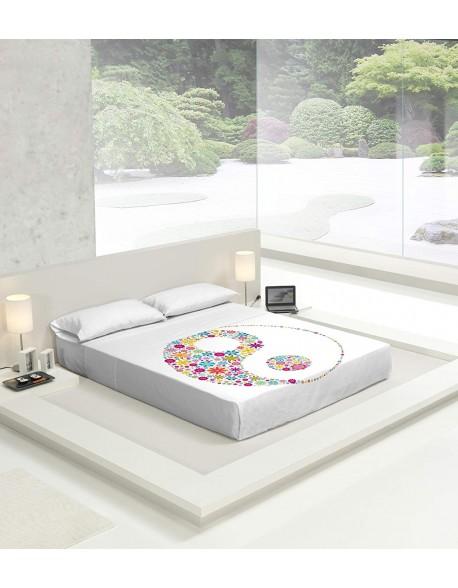 Tsuki Sábana encimera + funda almohada, japonesa, Yin Yan 100% algodón