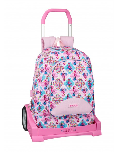 Moos Flamingo Pink Mochila con carro ruedas Evolution, Trolley