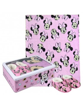 Minnie Mouse Set caja metálica: pantuflas y manta