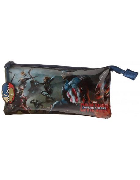 Capitán América Estuche portatodo triple escolar