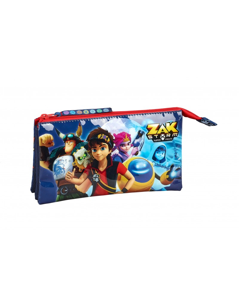 Zak Storm Super Pirate Triple Pencil Case Stationery School OFFICIAL