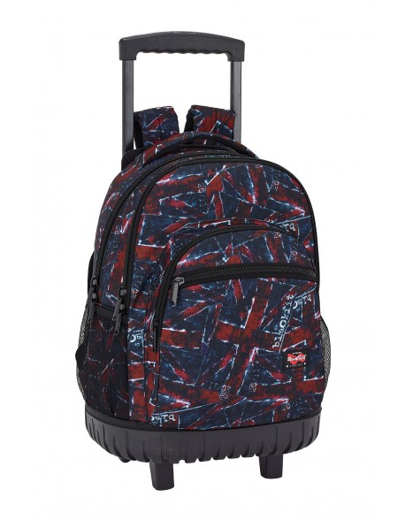 Blackfit8 Flags Mochila grande con ruedas carro fijo, Trolley