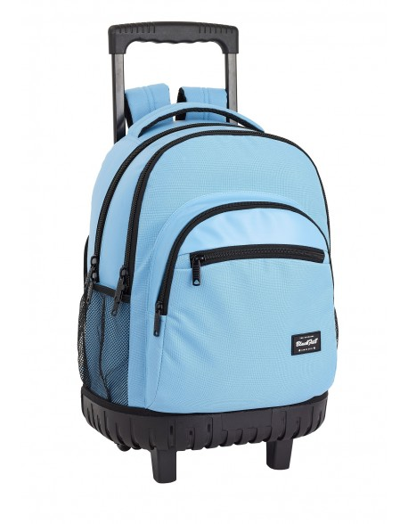 Blackfit8 Light Blue Mochila grande con ruedas carro fijo, Trolley