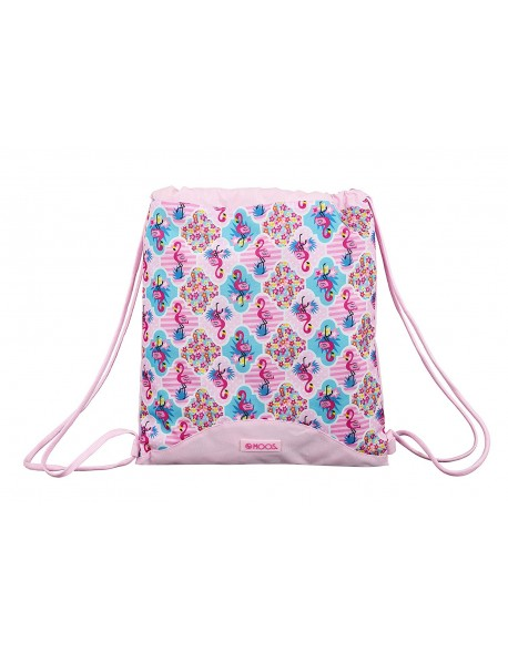 Moos Flamingo Pink Saco mochila plano cuerdas 35 x 40 cm