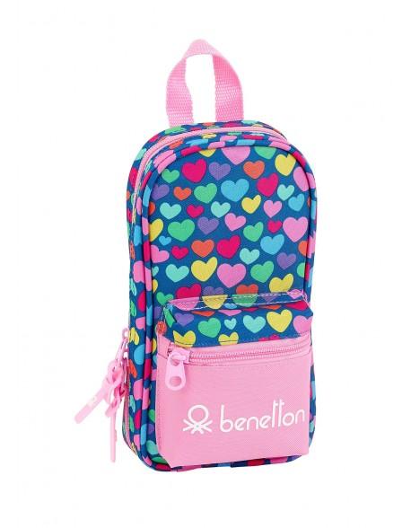 UCB Benetton Cuori Plumier mochila 4 estuches llenos, 33 piezas, escolar