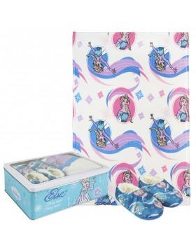 Frozen Set caja metálica: pantuflas y manta