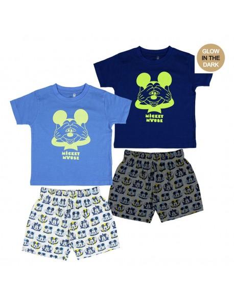 Mickey Mouse Pijama verano, brilla en la oscuridad niño