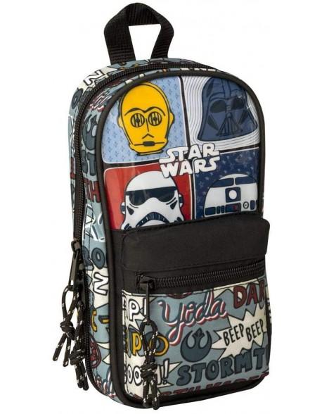 Star Wars Plumier mochila 4 estuches llenos, 33 piezas, escolar