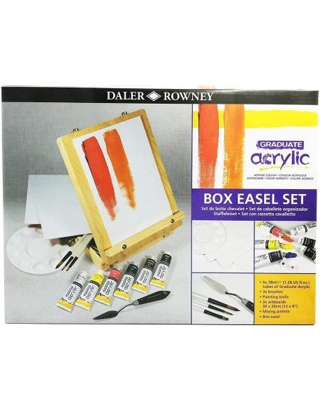 Daler Rowney - Kit de caja de caballete de pintura acrílica graduada