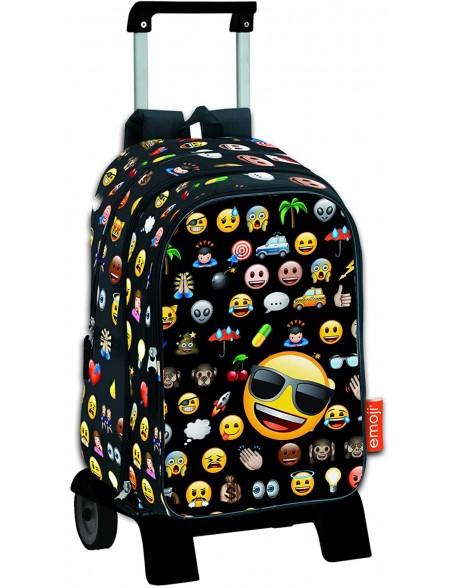 Emoji Mochila de bolsillos intercambiables con carro plegable, ruedas, Trolley