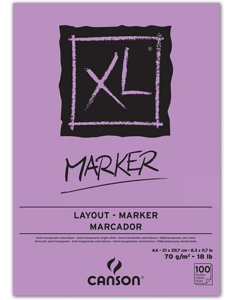 Canson XL Marker, Bloc encolado, 100 Hojas, 70g