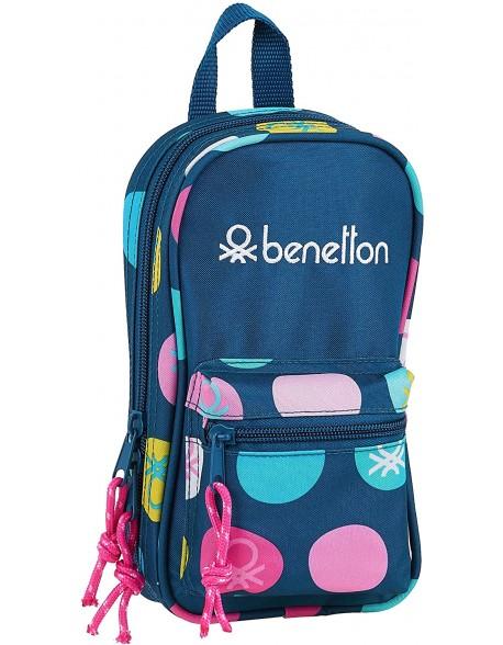 UCB Benetton Topos Marino Plumier mochila 4 estuches llenos, 33 piezas, escolar