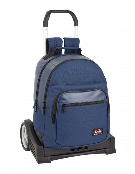 Blackfit8 Navy Blue Mochila con carro ruedas Evolution, Trolley