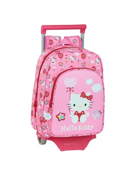 Hello Kitty Balloon Mochila pequeña ruedas, carro, trolley