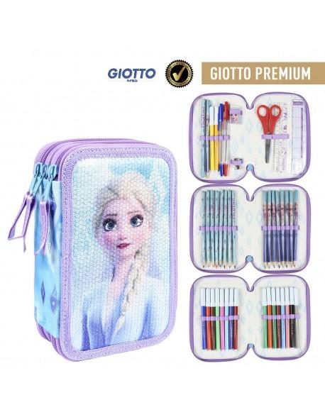 Frozen 2 Plumier triple Premium, estuche con 42 piezas, niña