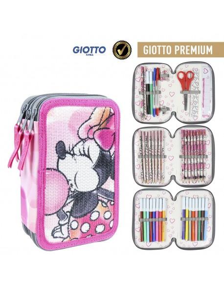 Minnie Mouse Plumier triple Premium, estuche con 42 piezas, niña
