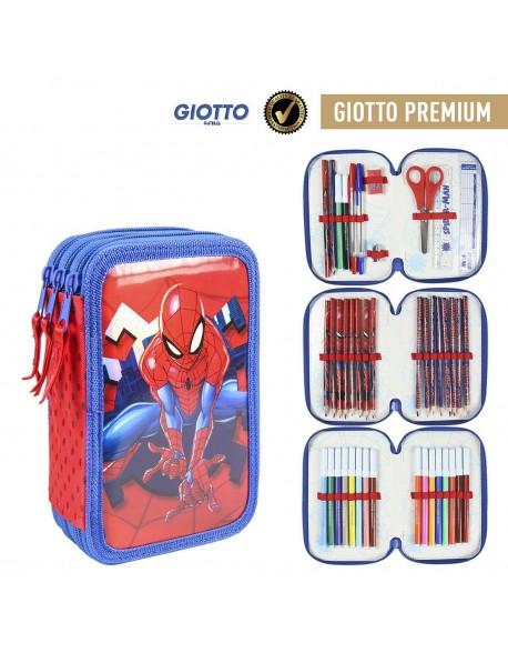 Spiderman Plumier triple Metalizado Premium, estuche con 42 piezas, niño