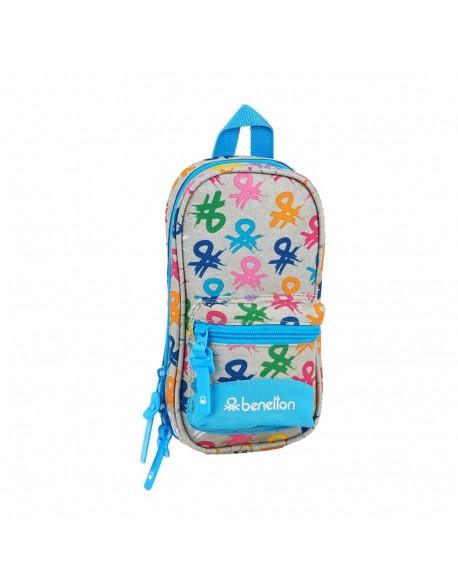 UCB Benetton Logo Plumier mochila 4 estuches llenos, 33 piezas, escolar