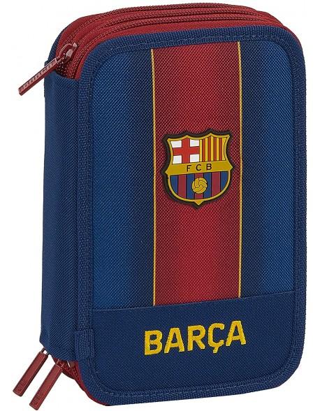 FC Barcelona 1ª Equip. 20/21 Plumier triple, estuche con 41 piezas, niño