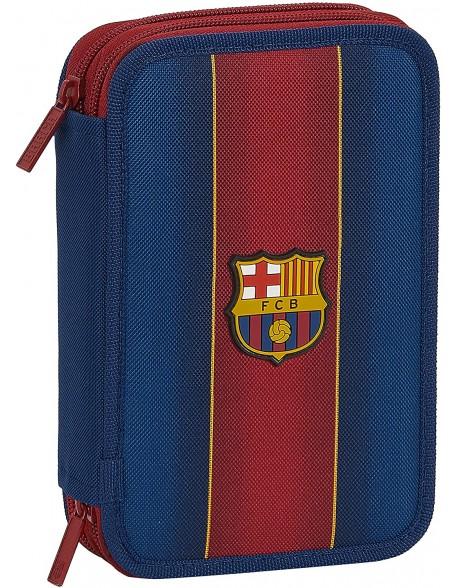 FC Barcelona 1ª Equip. 20/21 Plumier doble, estuche con 34 piezas, niño