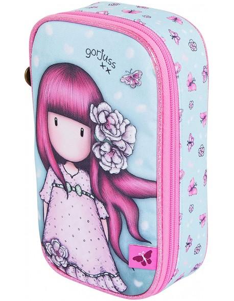 Santoro Gorjuss Sparkle & Bloom Fold out filled Pencil Case. Cherry Blossom