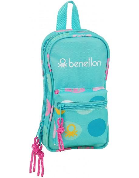 UCB Benetton Topos Turquesa Plumier mochila 4 estuches llenos, 33 piezas, escolar