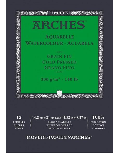 Arches Aquarelle Grano Fino Bloc acuarela, 12 Hojas,  300g