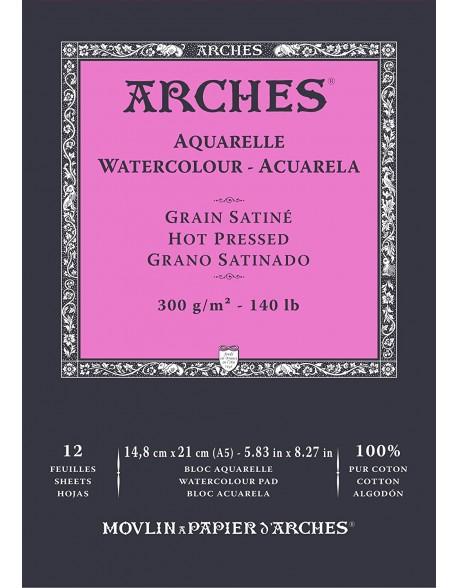 Arches Aquarelle Grano Satinado Bloc acuarela, 12 Hojas,  300g