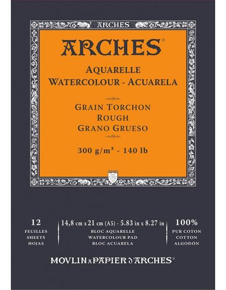 Arches Aquarelle Grano Grueso Bloc acuarela, 12 Hojas,  300g