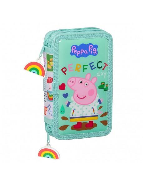 Peppa Pig Plumier doble, estuche con 28 piezas