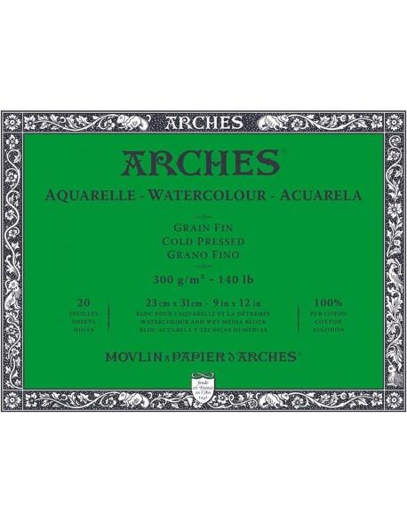 Arches Aquarelle Grano Fino Bloc acuarela, 20 Hojas,  300g