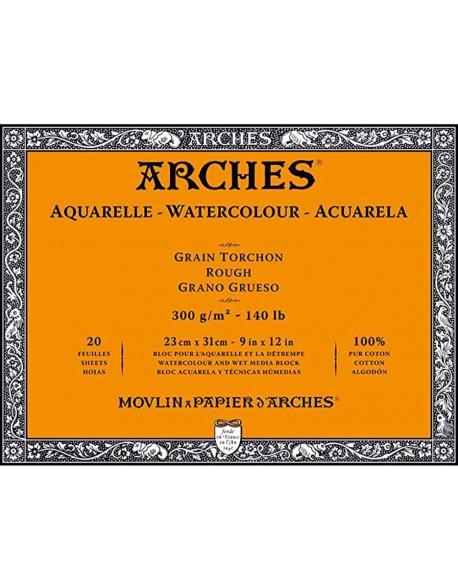 Arches Aquarelle Grano Grueso Bloc acuarela, 20 Hojas,  300g