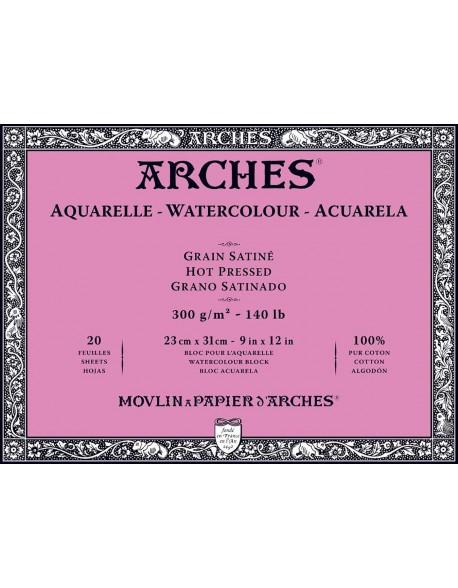 Arches Aquarelle Grano Satinado Bloc acuarela, 20 Hojas,  300g