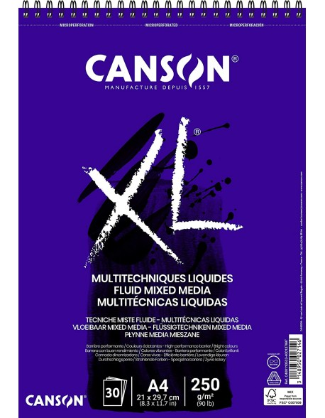 Canson XL Multitécnicas Líquidas, Album espiral, 30 Hojas,  250g