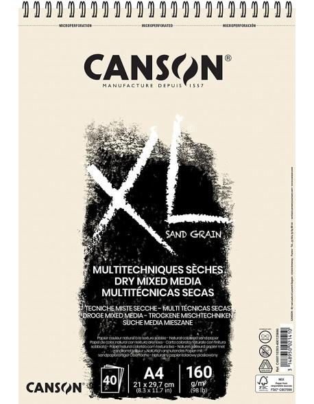 Canson XL Sand Grain Natural, Album espiral, 40 Hojas,  160g