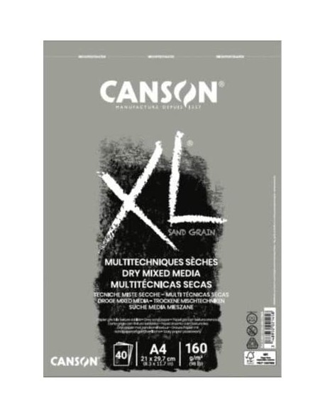 Canson XL Sand Grain Gris, Album espiral, 40 Hojas,  160g