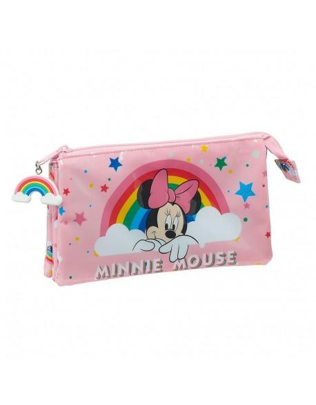 Minnie Mouse Rainbow Estuche portatodo triple escolar