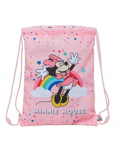 Minnie Mouse Rainbow Saco mochila plano cuerdas 26 x 34 cm