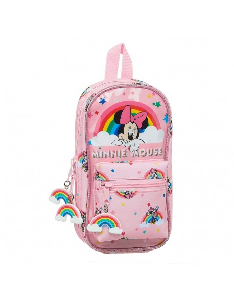 Minnie Mouse Rainbow Plumier mochila 4 estuches llenos, 33 piezas, escolar